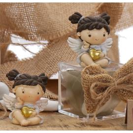 """Bomboniere Angioletto Statuina Bimba su Plexiglass con Confetti """"Il Cuore degli Angeli"""""""