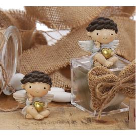"""Bomboniere Angeli Battesimo Statuina Bimbo su Plexiglass con Confetti """"Il Cuore degli Angeli"""""""
