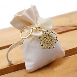 Bomboniera Matrimonio Portachiave Albero della Vita Cuori Gold su Sacchetto Confettata