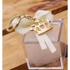Bomboniera Portachiave Corona Compleanno Gold con Confettata e Plexiglass