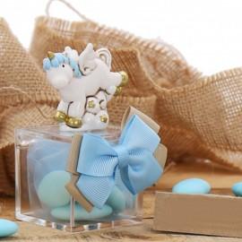 Bomboniere Battesimo Unicorno Fantasy Statuine Bimbo su Plexiglass con Confettata