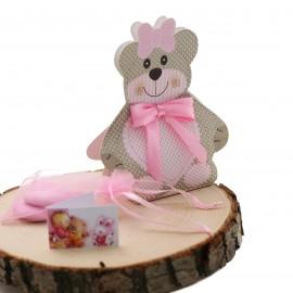Bomboniera Nascita Bimba Teddy Bear Astuccio confezionato con confetti.