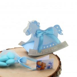 Bomboniere Nascita Cavallo a Dondolo iAstuccio Star con Confetti