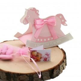 Bomboniere Nascita Cavallo a Dondolo Rosa Astuccio Star con Confetti