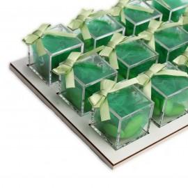 Vassoio da 12 Plexiglass Verde con Confetti