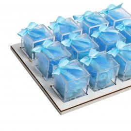 Vassoio da 12 Plexiglass Celeste con Confetti
