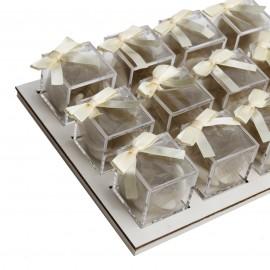 Vassoio da 12 Plexiglass Panna con Confetti