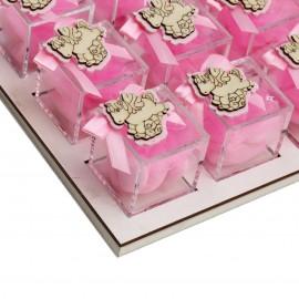 Bomboniere Nascita e Battesimo Vassoio da 12 Plexiglass Rosa con Applicazione Unicorno in Legno Confetti