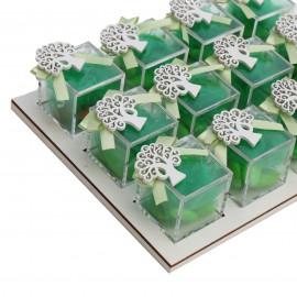 Bomboniere Promessa Vassoio da 12 Plexiglass Verde con Applicazione Albero della Vita in Legno Confetti