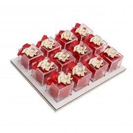 Bomboniere Laurea Vassoio da 12 Plexiglass Rosso e con Applicazione Tocco in Legno Confetti
