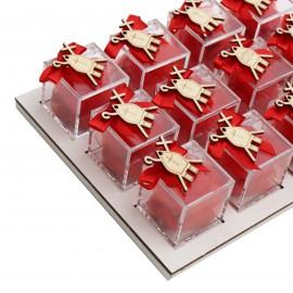 Bomboniere Cresima Vassoio da 12 Plexiglass Rosso e con Applicazione Mitra in Legno Confetti