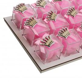 Vassoio da 12 Plexiglass Rosa con Applicazione Corona in Legno Confetti