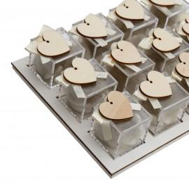 Vassoio Plexiglass Panna con Applicazione Legno Cuore Confetti