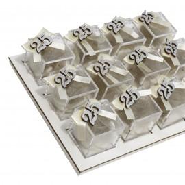 Vassoio Plexiglass Panna con Applicazione Legno Numero 25 Confetti