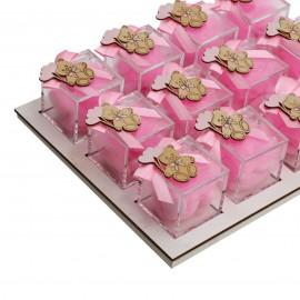 Vassoio da 12 Plexiglass Rosa con Applicazione Orsetto in Legno Confetti
