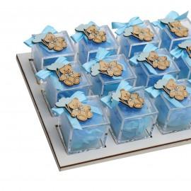 Vassoio da 12 Plexiglass Celeste con Applicazione Orsetto in Legno Confetti