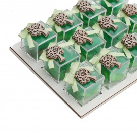 Vassoio Plexiglass Verde con Applicazione Legno Albero della Vita Confetti