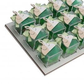 Vassoio Plexiglass Verde con Applicazione Legno Elefantini Innamorati Confetti