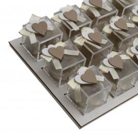 Vassoio Plexiglass Panna con Applicazione Legno Doppio Cuore Confetti