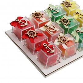 Vassoio Plexiglass Mix Color con Applicazioni Tema Mare Legno 18 Confetti