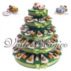 Torta 90 Bomboniere Macchinine Colorate con Fiori