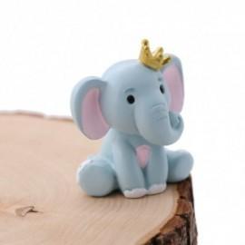 Elefantino Bimba con dettagli Rosa e Corona Statuina Bomboniera Fai da Te