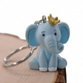 Elefantino Bimbo Portachiavi con particolari in azzurro e corona sulla testa Bomboniera Fai da Te