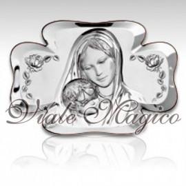 Icona Quadrifoglio Madonna con Bimbo in Argento