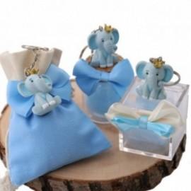 Elefantino Bimbo Portachiavi con particolari in azzurro e corona sulla testa Bomboniere Confezionate