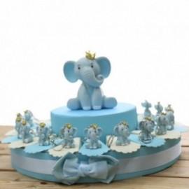 Elefantino Bimbo Portachiavi con particolari in azzurro e corona sulla testa Torta Bomboniere