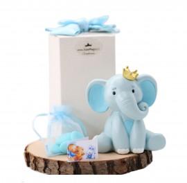 Salvadanaio Elefantino Bimbo in azzurro e con corona dorata Bomboniere Confezionate