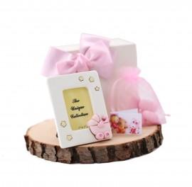 Portafoto con Stelline e Passeggino Rosa con cuore Bomboniere Confezionate Bimba