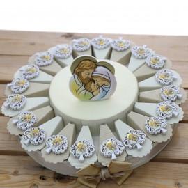 Bomboniere Battesimo Sacro Albero della Vita con Magnete Sacra Famiglia su Torta