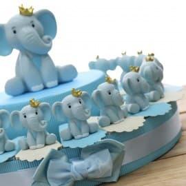 Elefantino Bimbo con dettagli in azzurro e Corona Torta Bomboniere Statuina