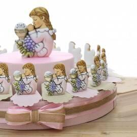 Bomboniera bambina prima comunione con calice sacramento su torta portaconfetti
