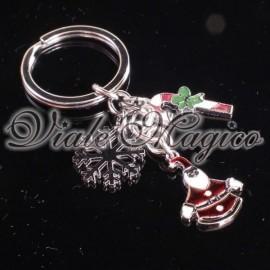 Portachiave Babbo Natale con Bastone e Fiocco di Neve