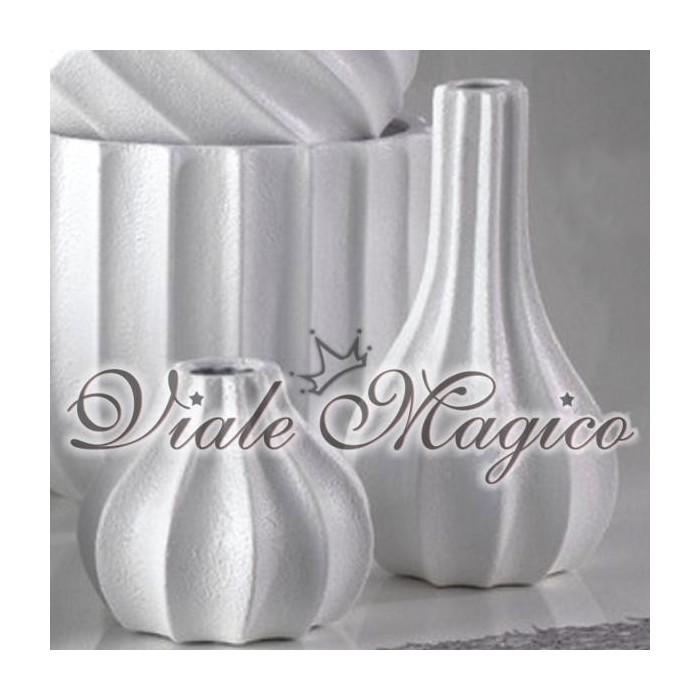 Set di due Vasi con Onde Lineari in Ceramica