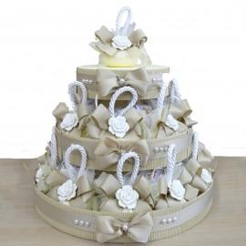 Torta 20 pz Saponi Profumati Beige con Elegante Fiore