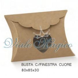 Portaconfetti Busta con Finestra Cuore Linea Natural