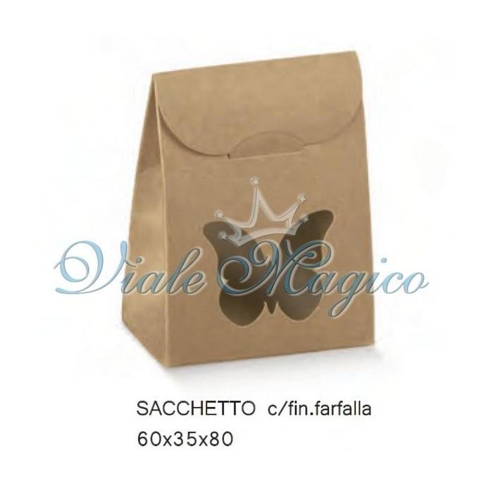 Bomboniere Fai Da Te Sacchetto Portaconfetti con Farfalla Linea Natural