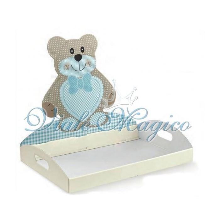 Bomboniere FaiDaTe Sacchetti Vassoio Contenitore Teddy Bear Azzurro