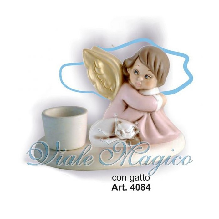 Bomboniera Candeliere Angioletto Con Gatto e Ali Oro Taruschio