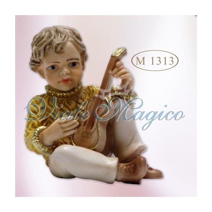 Bomboniera Bimbo seduto con Mandolino Satinato Capodimonte