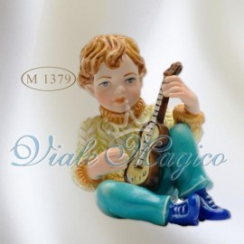 Bomboniera Bimbo seduto con Mandolino in Colori Classici