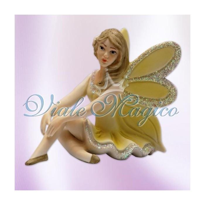 Bomboniera Fatina seduta con rose in Porcellana dai colori Glitter