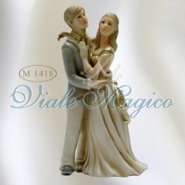Bomboniera Coppia Sposi in Piedi Anticato in Porcellana