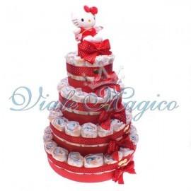 Torta Pannolini da 55 Pezzi con Hello Kitty Rossa