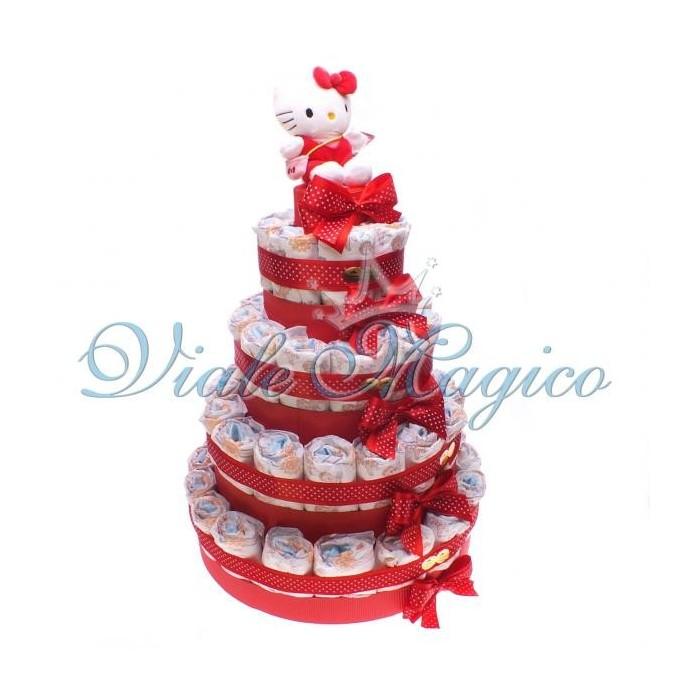 Bomboniere Articoli Regalo Nascita Torta Pannolini 55 Pezzi Hello Kitty Rosso