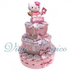 Torta Pannolini da 37 Pezzi con Hello Kitty Rosa