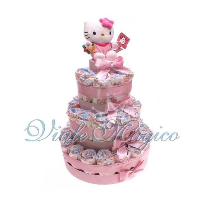 Bomboniere Articoli Regalo Nascita Torta Pannolini 37 Pezzi con Hello Kitty Rosa